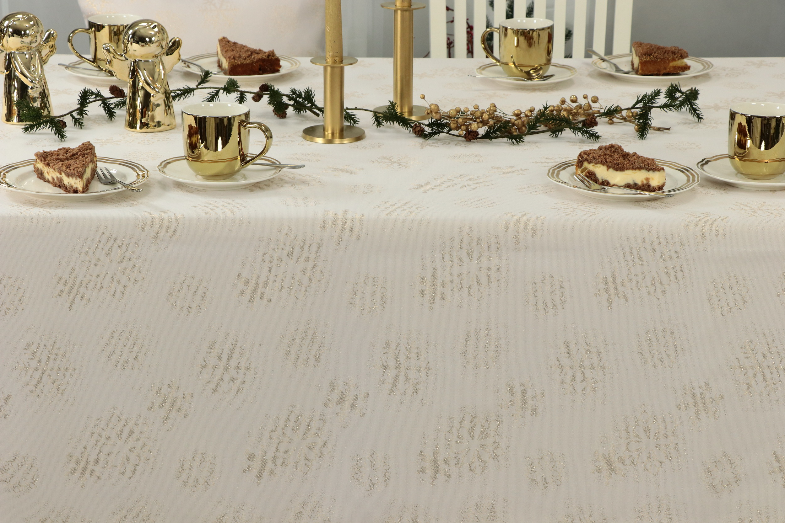 weihnachtstischdecke advent champagner muster gold breite. Black Bedroom Furniture Sets. Home Design Ideas